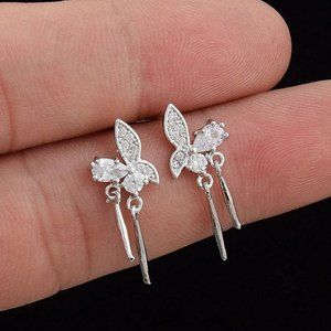 *925 Sterling Silver Diamond Butterfly Earrings